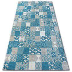 Килим лисицяBOA 27218/454 квадрати плитки бірюзовий Лісабонський стиль