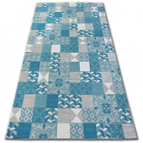 Килим ЛІСАБОН 27218/454 квадрати плитки бірюзовий Лісабонський стиль
