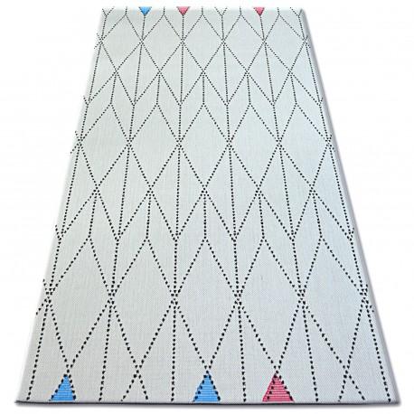 Килим шнуровий SIZAL COLOR 19312/236 діаманти трикутники білий