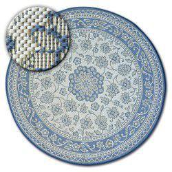 Килим колесо шнуровий SIZAL FLAT 48691/591 вітражі квіти синій