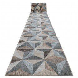 Килим Лущув ARGENT - W6096 трикутники 3D бежевий / синій