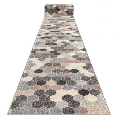 Доріжка килимова HEOS 78537 сірий / рожевий / крем Гексагон