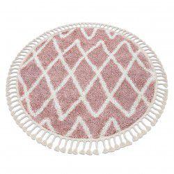 Килим BERBER BENI коло рожевий бахромою волохатий