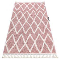 Килим BERBER BENI рожевий бахромою волохатий