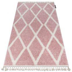 Килим BERBER TROIK A0010 рожевий / білий бахромою волохатий