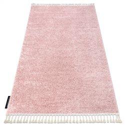 Килим BERBER 9000 рожевий бахромою волохатий