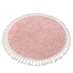 Килим BERBER 9000 коло рожевий бахромою волохатий