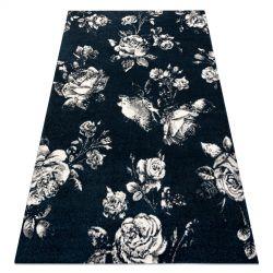 Килим GNAB 60642734 квіт троянди темно-синій / білі
