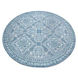 Килим шнуровий SIZAL LOFT 21193 коло BOHO слонова кістка сірий/синій